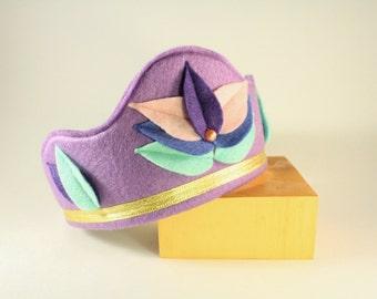 Felt Crown - Princess Crown - Party Crown - Kid Costume - Lotus Crown - Pink crown