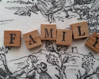 FAMILY Antique Chippy Wooden Anagrams | Alphabet Letter Tiles