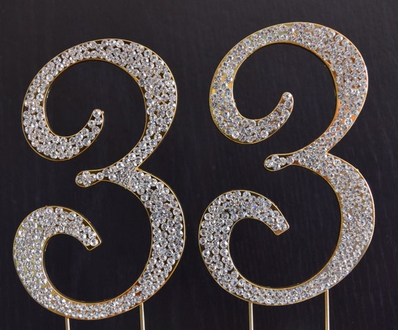 33rd Wedding Anniversary Gift: Rhinestone Gold NUMBER 33 Cake Topper 33rd Birthday Party
