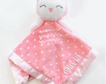 Personalized Embroidered Monogrammed Owl Lovey Blanket; Baby Shower Gift; Toddler Gift