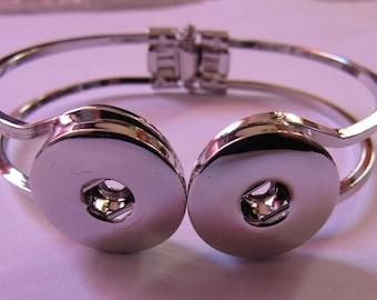silver bracelet for 2 snap 18mm / 20mm