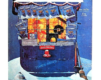 News Kiosk in the Snow - Vintage Book Page - 1976 Norman Rockwell Print