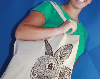 Rabbit Tote Bag, Rabbit Bag, Bunny Tote in Chocolate Brown