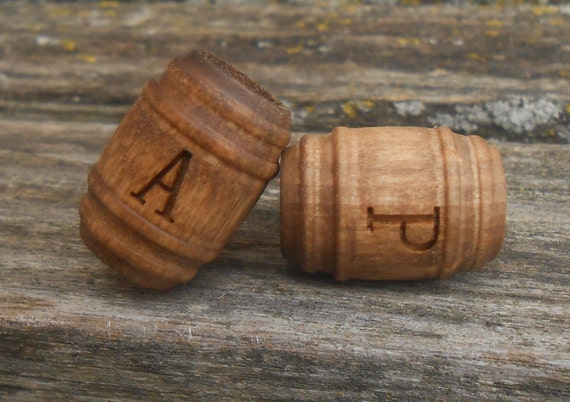 MONOGRAM BEER BARREL Cufflinks. Wood. Wedding, Men's, Groomsmen Gift, Dad. Anniversary, His Hers, Bride Groom, Monogram, Letter, Initial
