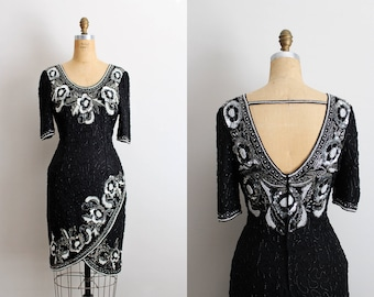 90s Cocktail Beaded Dress / Silver and Black Sequins Dress /90s Party Dress / Art Deco Dress / Silk Dress / Open Back Dress / Kazar/Size S/M