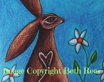 Moongazing Hare Greeting Card, Animal Card, Hare Animal Totem, Goddess Greeting Card, Pagan Greeting Card, Blank Card, Birthday Card