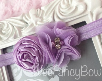 Purple baby headband - Lavender baby headband - newborn photo prop - lavender fancy headband - newborn photo prop - rhinestone headband