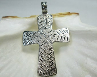 Southwest Pewter Silver Cross Pendant