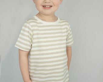 Kids soft bamboo shirt, tagless seamless sensory friendly kids clothing, beige stripe toddler summer tshirt, 2T 3T