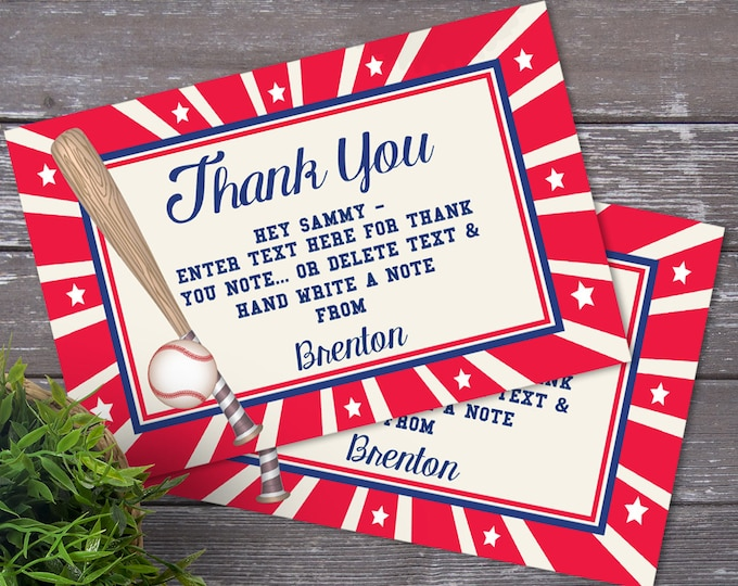 Baseball Party Thank You Card   Little Slugger Party, Birthday, Baby Shower, Thank You   EDITABLE Text - INSTANT Download Printable PDF