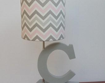 Nursery lamp shade etsy small pinkgreywhite chevron drum lamp shade nursery or girls lamp shade aloadofball Images
