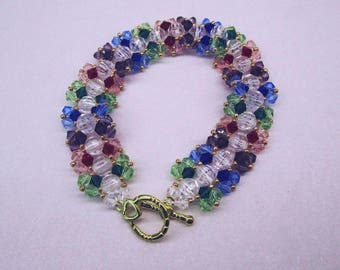 Beautiful Rainbow Bicone Faceted crystal bracelet.