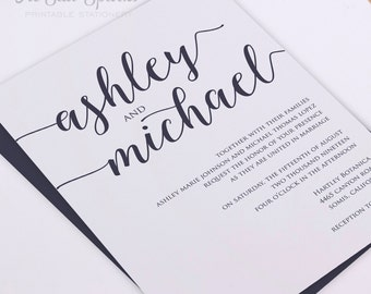 Printable Wedding Invitation - Classic Calligraphy