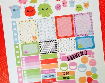 Kawaii Monster Weekly Planner Stickers Set, for use with Erin Condren Life Planner, Happy Planner