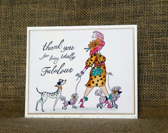 Thank you card, handmade thank you card, dogs thank you, fun thank you,thank you card for her, girls thank you card, poodle thank you