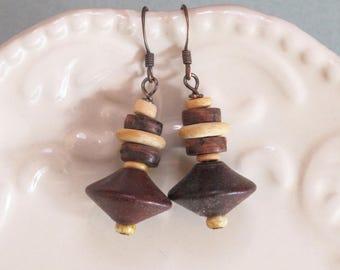 Vintage 1970s Wood Beads, Lightweight Earrings, Antiqued Copper hooks, Czech glass seed beads