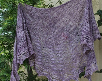 Lavender Lace Crescent Shaped Pure Merino Wool Shawlette or Scarf