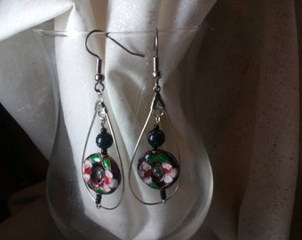 black and floral cloisonne earrings