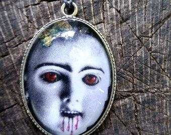 Vampire Gothic Doll Picture Necklace by Ugly Shyla - Gothic Jewelry - Horror Fashion - Zombie - Night Of The Living Dead - Victorian Doll