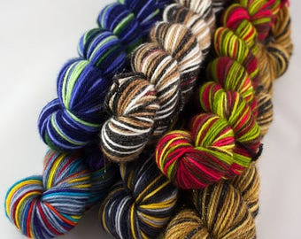 Mini Skeins - Jumbo Party Pack - Hand-Dyed Self-Striping Sock Yarn