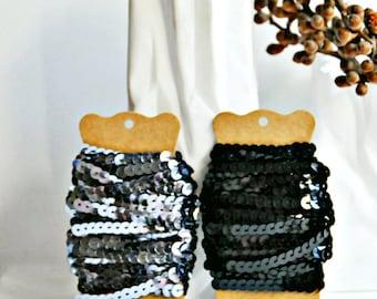 Black Sequin Ribbon {5m} | Sequin Ribbon Trim | DIY Craft Supply | Wedding Engagement Gift Wrap | Valentine Gift Wrap | Sparkle Trim