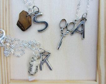 Best friend gift. Rock paper scissors necklaces. Best friend jewelry. Set of three necklaces. Paper bead, pewter scissors, tigers eye rock.