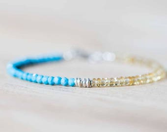 Turquoise & Citrine Bracelet with Sterling Silver, Delicate Beaded Multi Gemstone Bracelet, Genuine Turquoise Jewelry, Citrine Jewelry