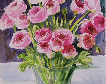 Ranunculus Original watercolour painting Floral art classical painting  botanical illustration mom gift home decor watercolor Pink flowers