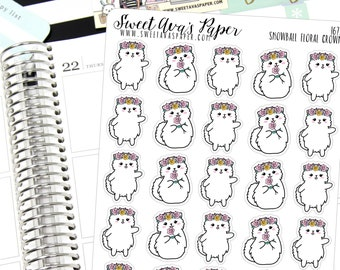 Floral Planner Stickers - Funny Planner Stickers - Cat Planner Stickers - Crown Planner Stickers - Phone Planner Stickers - 1672
