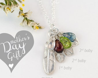 Silver Family Necklace, Custom Birthstone Necklace, Feather Necklace, Grandma Gift, Gift for Mom, Kid Birthstones, Customized Charm Necklace