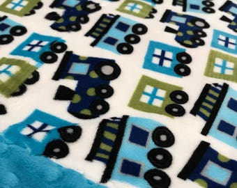 Travel Pillowcase - Trains Print Minky with Dark Turquoise Dot Minky Border - great for a Toddler or Travel Pillow