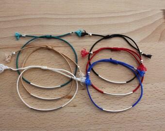 WHOLESALE  Thin Silver  Tube Bracelets x 30 -   Adjustable Bracelets - Silver  Bar Bracelets