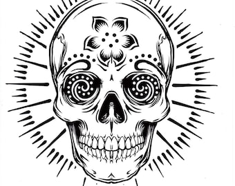 five different sugar skull tattoo coloring pages, printable digital download no 480.