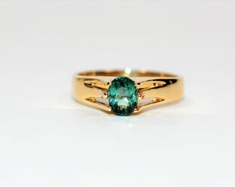 40% OFF SALE with free limited resizing!! Unbeatable Saturation 1ct Indicolite Tourmaline 14k Yellow Gold Ring