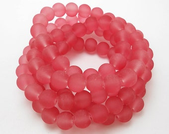50 Hint Of Red Matte Sea Glass Beads 8mm frosted beach glass round