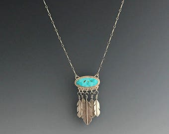 Turquoise & Silver Feather Necklace