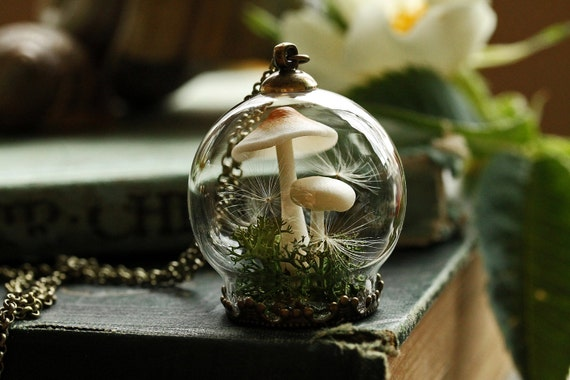 Mushroom terrarium necklace miniature terrarium jewelry