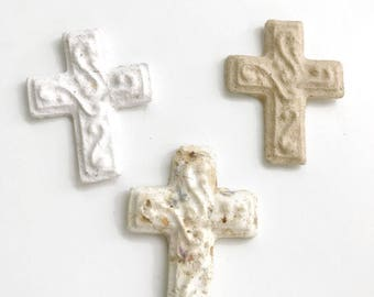 Plantable Seed Paper Cross - Unique Gifts with Flower or Herb Seed Baptism, Christening, First Holy Communion Gifts & Party Favors Handmade