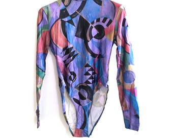 From the 80s, vintage multicolors long-sleeved Bodysuit - new - size M - made in France/Edo Nabuki