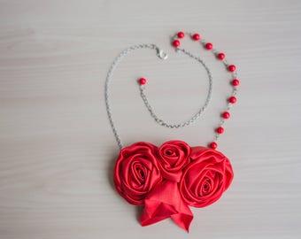 Red Statement Bib Necklace Asymmetric Necklace Fabric Necklace Textile Necklace Flower Necklace Vintage Necklace Bridesmaid Wedding Necklace