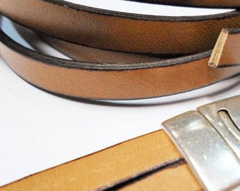 """Per 16"""" 7.5mm Flat Leather, Toffee Brown"""