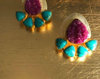 Statement jewelry - Unique handmade  stone/ druzy earrings in  brass.