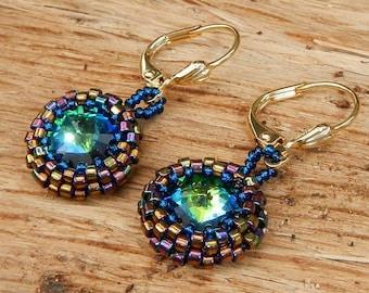 Blue Green Gold Swarovski Crystal Rivoli Earrings Hand Beaded