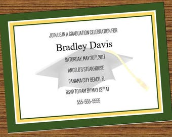Green and Gold Graduation Party Invitation, school colors graduation party invitation, graduation invitation,  high school, college, pdf