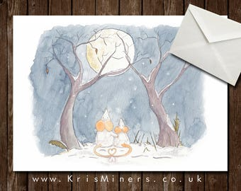 Whimsical Winter Time Greetings Card - Ideal for Loved Ones - Winter Moon