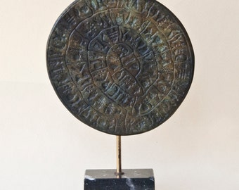 Greek Phaistos Disc Metal Sculpture, Minoan Crete Greek Art Sculpture, Museum Replica Ancient Mystery Disc, Greek Decor, Art Gift, Art Decor