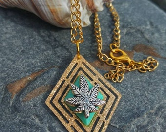 Turquoise Geometric Cannabis Leaf Necklace.