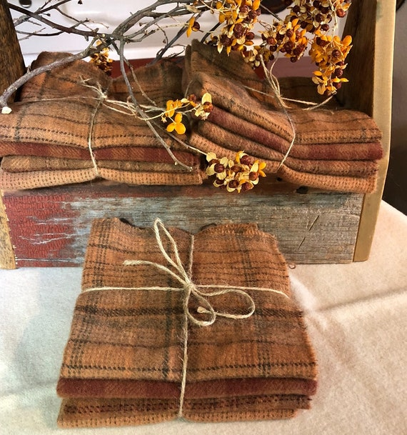 Fall Colors Wool Bundle, Wool Fabric for Rug Hooking, Applique, Penny Rugs, Quilting - 4 One Eighth Yard Pieces of Antique Pumpkin W360