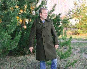 German Wool Coat / TRACHTEN GERLACH 100% New Wool Double Breasted Trench Coat / Khaki Green Military Style Unused Vintage Overcoat --> L
