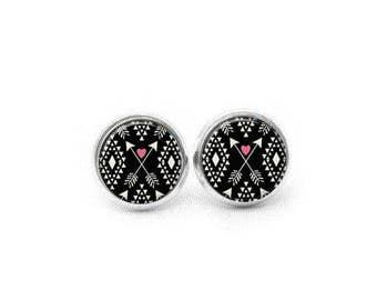 Tribal Stud Earrings, Gift for Women, Gift for Her, Aztec Stud Earrings, Bohemian Stud Earrings, Stud Earrings, Tribal Print Earrings
